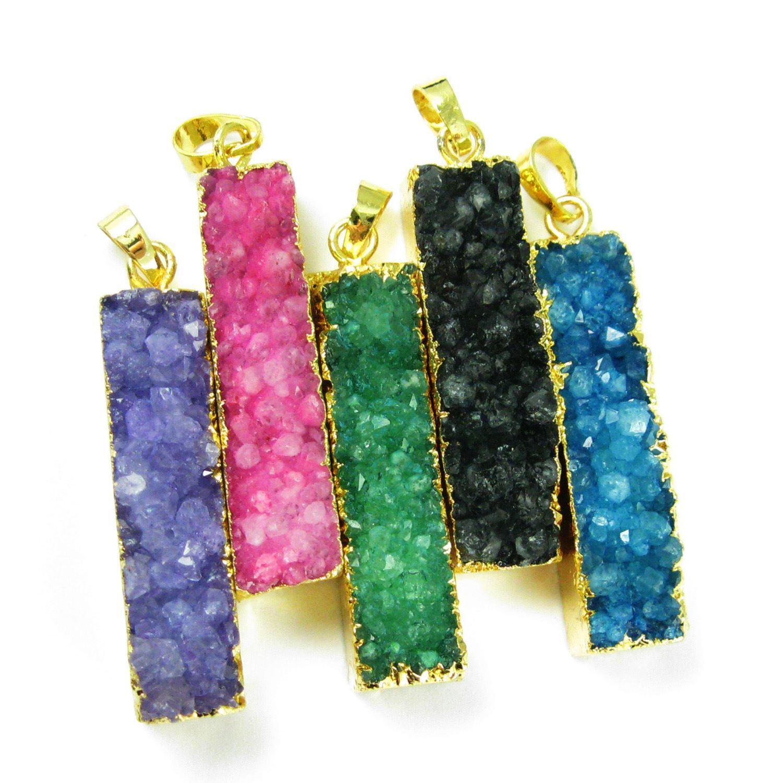 Druzy Bar Pendant, Rainbow Druzy Agate Bar Pendant- Vertical- Gold plated Brass Edge and Bail - 52mm - Green Druzy