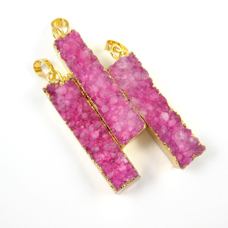 Druzy Bar Pendant, Rainbow Druzy Agate Bar Pendant- Vertical- Gold plated Brass Edge and Bail - 52mm - Pink Druzy