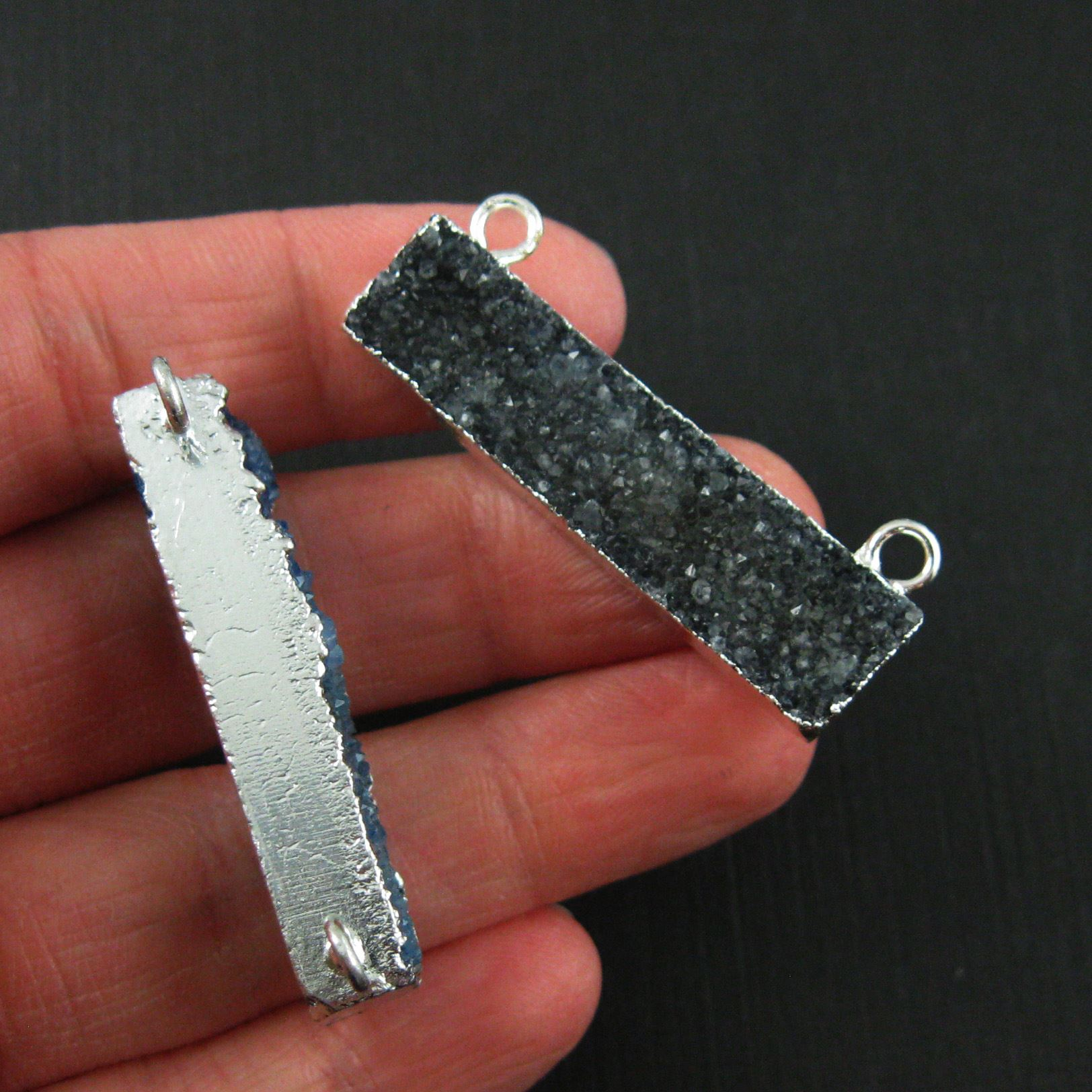 Druzy Bar Connector Pendant,Black Druzy Agate Bar- Top Rings- Silver plated Brass Edge and Bail -41mm