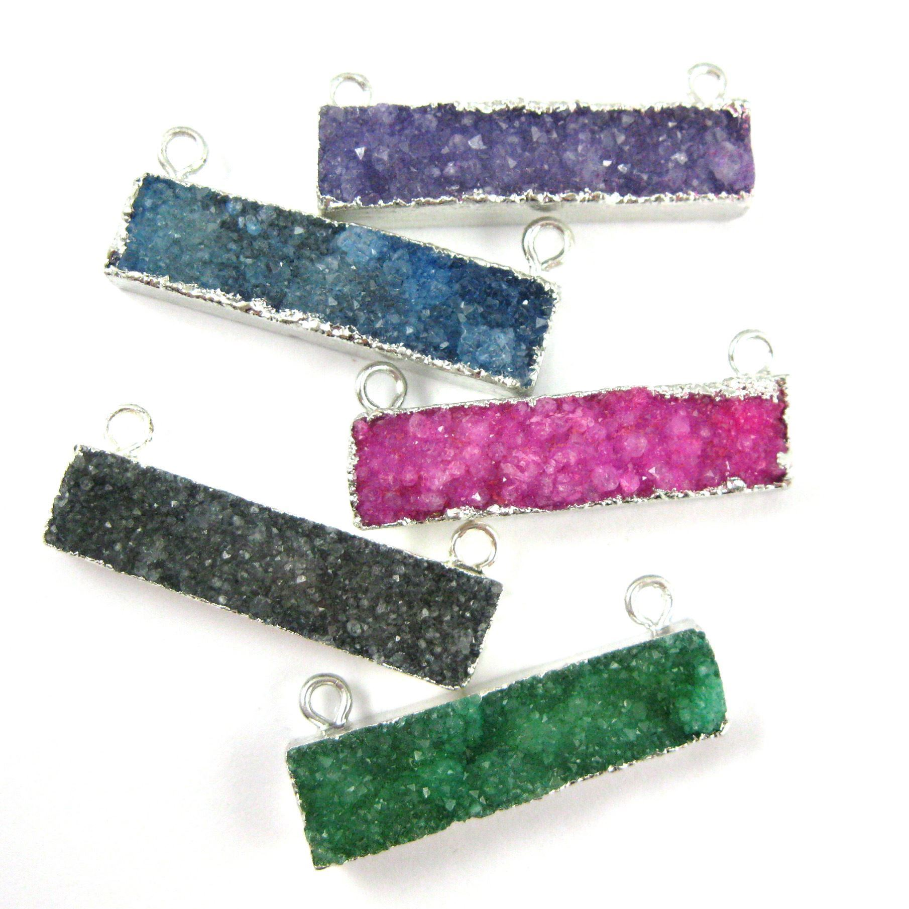 Druzy Bar Connector Pendant,Green Druzy Agate Bar- Top Rings- Silver plated Brass Edge and Bail -41mm