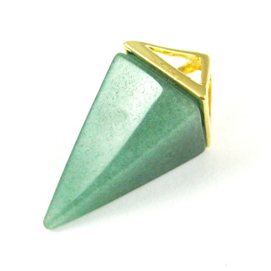Natural Gemstone Pyramid Pendant- Point Spike Pendant, Double Pyramid Gem - Green Jade- 34mm