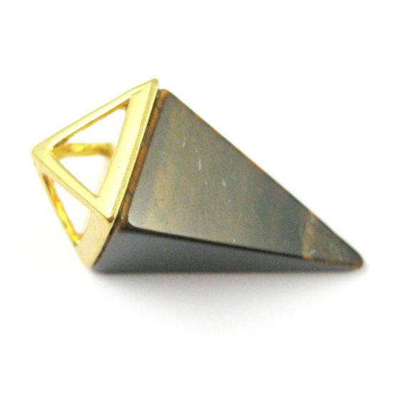 Natural Gemstone Pyramid Pendant- Point Spike Pendant, Double Pyramid Gem - Tiger Eye - 34mm