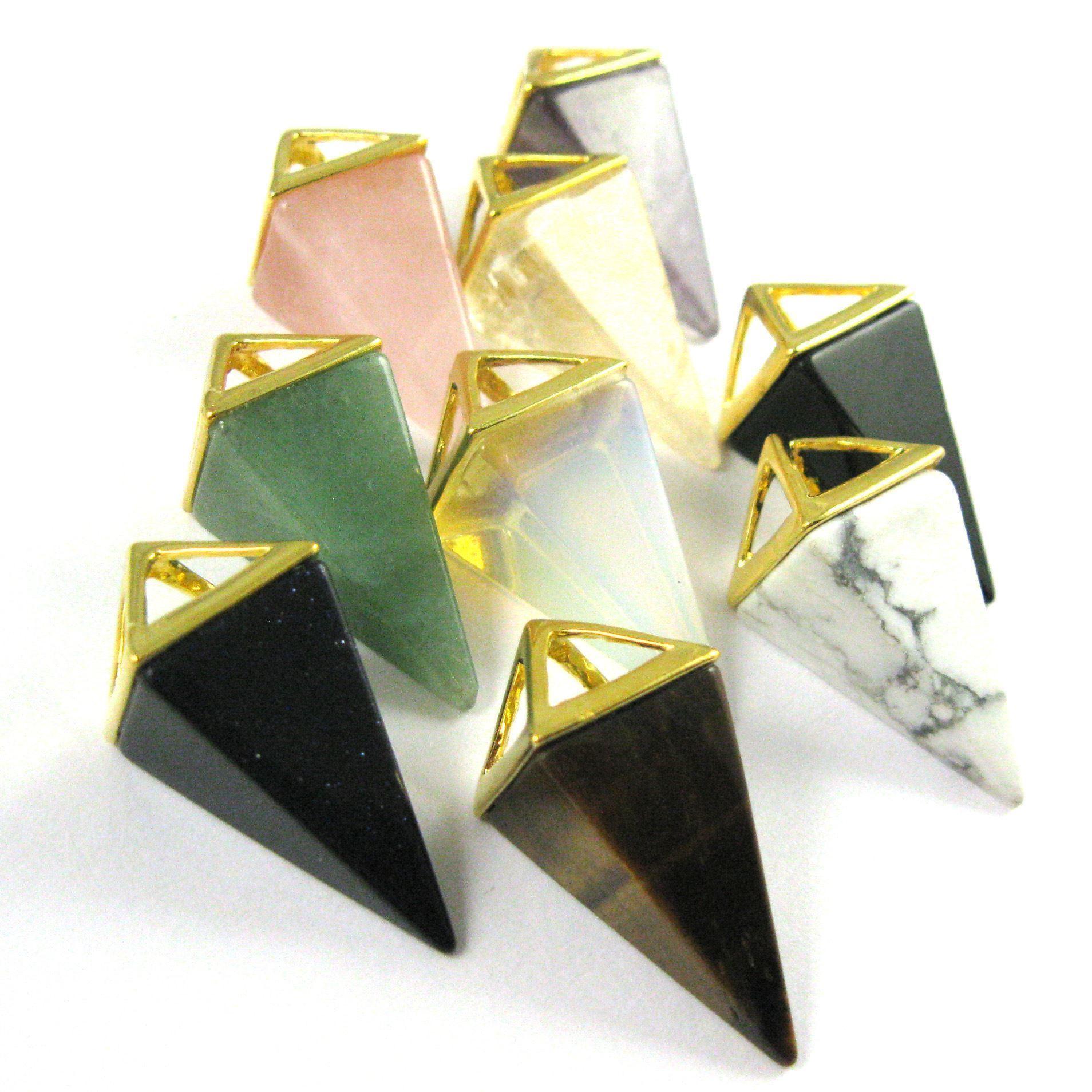 Natural Gemstone Pyramid Pendant- Point Spike Pendant, Double Pyramid Gem - White Howlite - 34mm