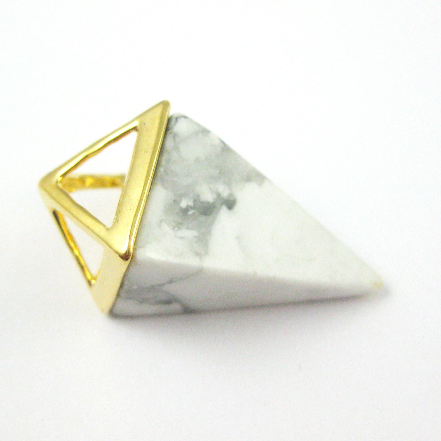 Natural Gemstone Pyramid Pendant- Point Spike Pendant, Double Pyramid Gem - White Howlite - 34mm