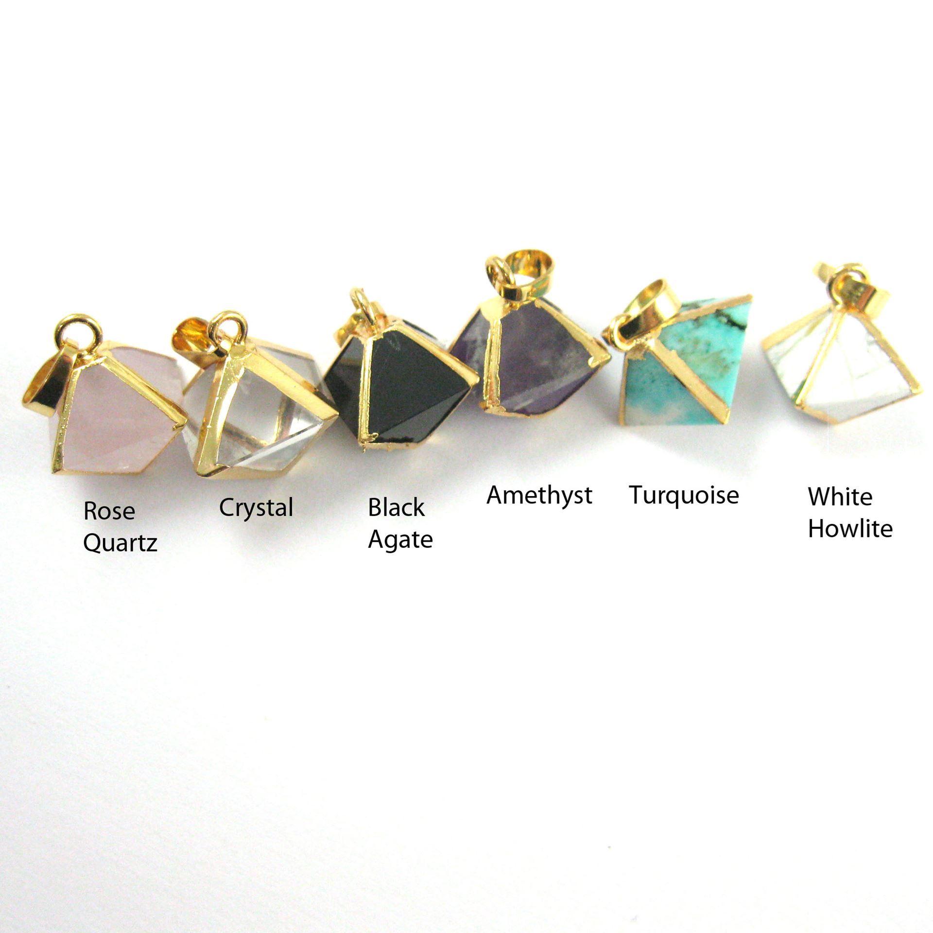 Gemstone Pendant, Octahedron Black Agate Gemstone, 8 sides gemstone Gold plated Pendant,Small Gemstone Rock Pendant- 25m