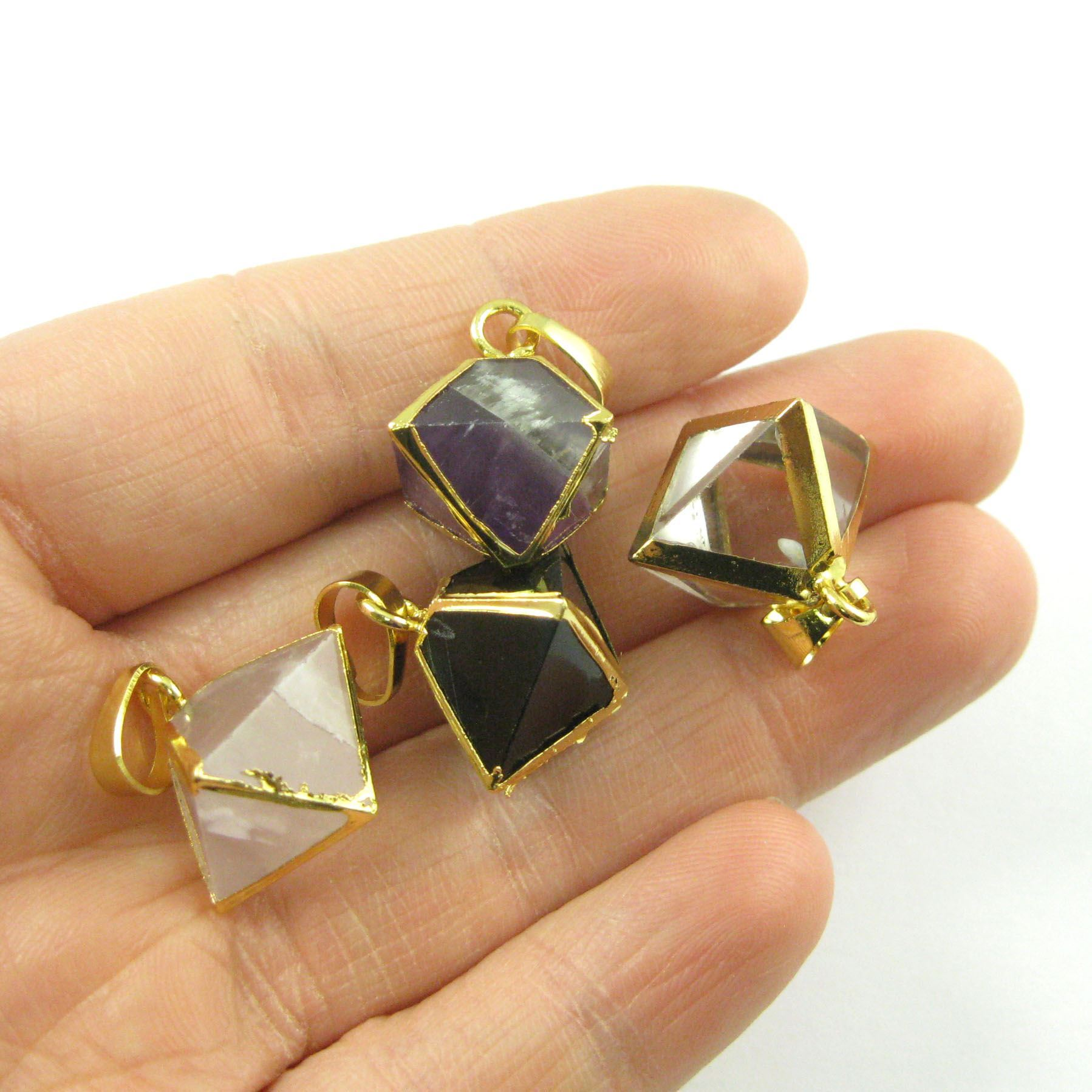 Gemstone Pendant, Octahedron Black Agate Gemstone, 8 sides gemstone Gold plated Pendant,Small Gemstone Rock Pendant- 25m