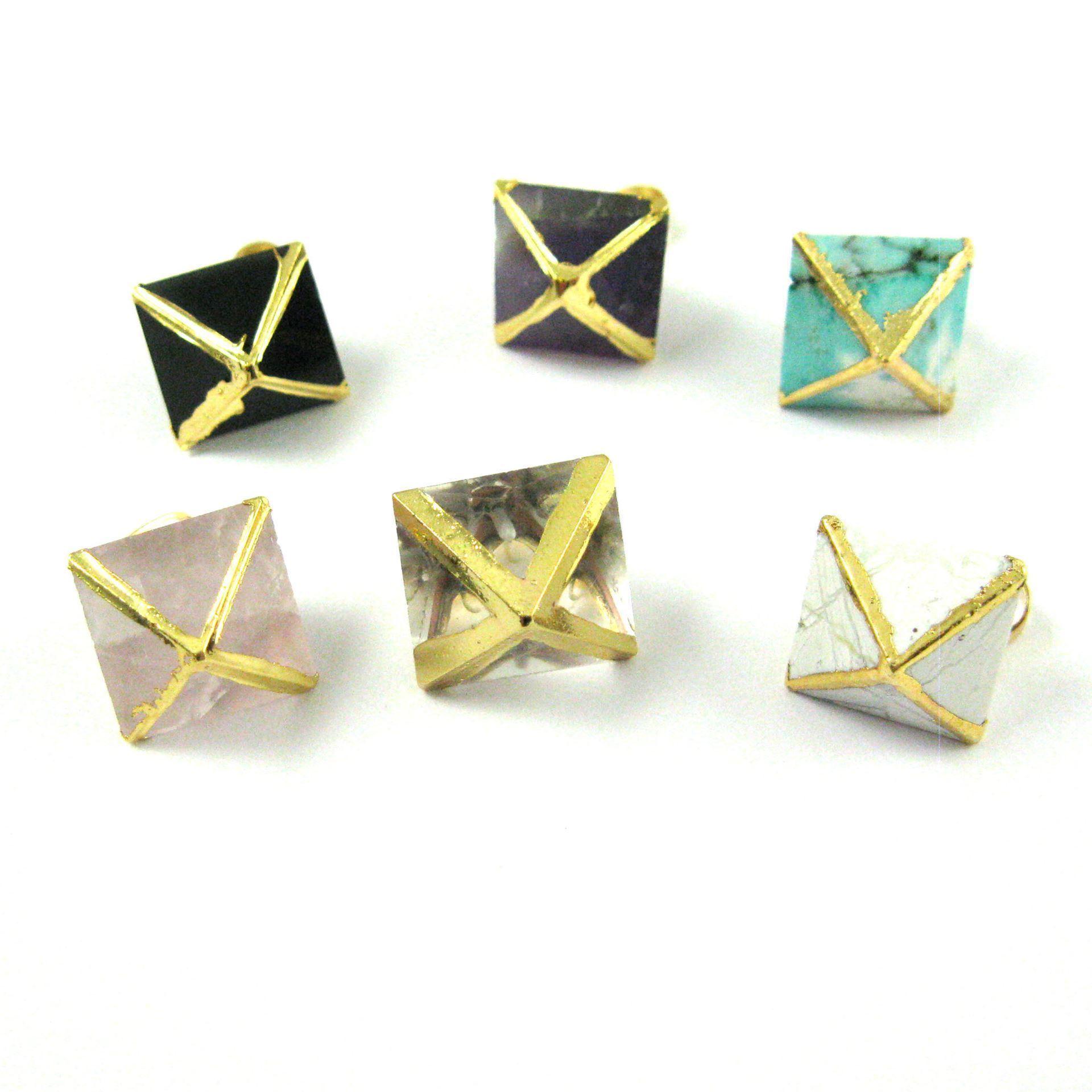 Gemstone Pendant, Octahedron White Howlite Gemstone, 8 sides gemstone Gold plated Pendant,Small Gemstone Rock Pendant- 25mm