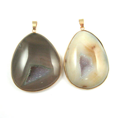 Druzy Agate Geode Pendant,Huge Geode Pendant,Natural Agate Organic Teardop Shape Pendant Gold Edging and Bail - Dark Gemstone