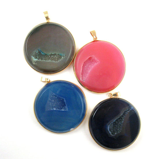 Druzy Agate Geode Pendant,Huge Geode Pendant,Natural Rainbow Agate-  Large Round Pendant Gold Edging and Bail - Pink