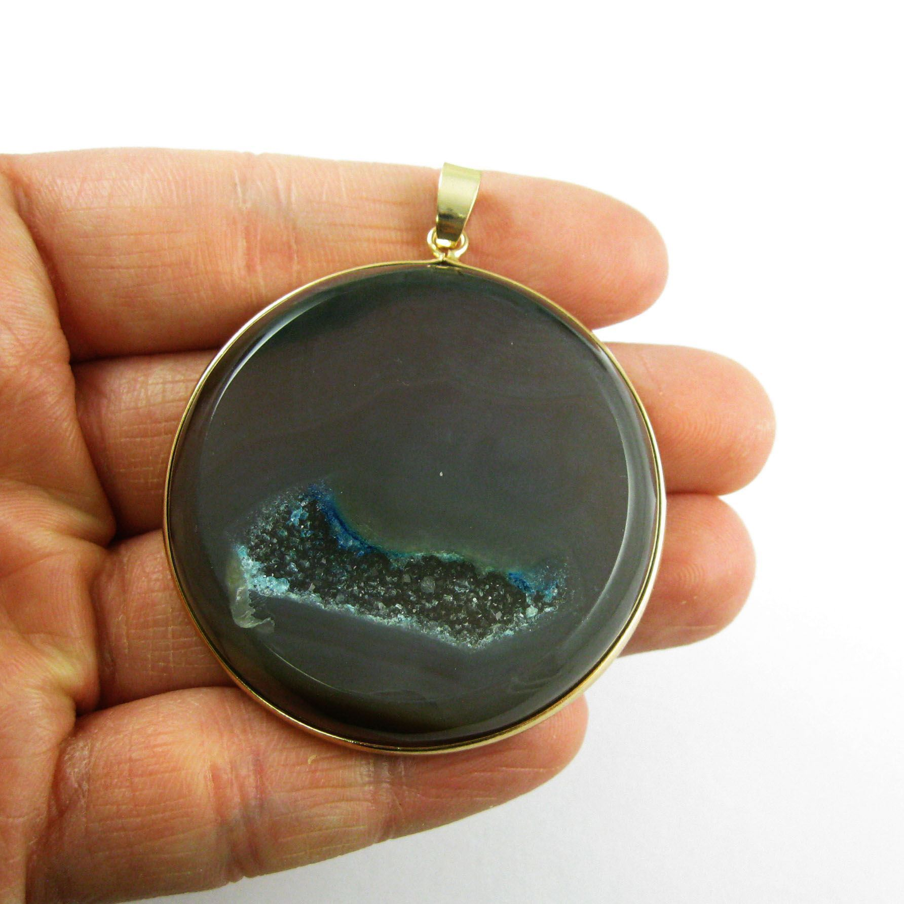 Druzy Agate Geode Pendant,Huge Geode Pendant,Natural Rainbow Agate-  Large Round Pendant Gold Edging and Bail - Grey