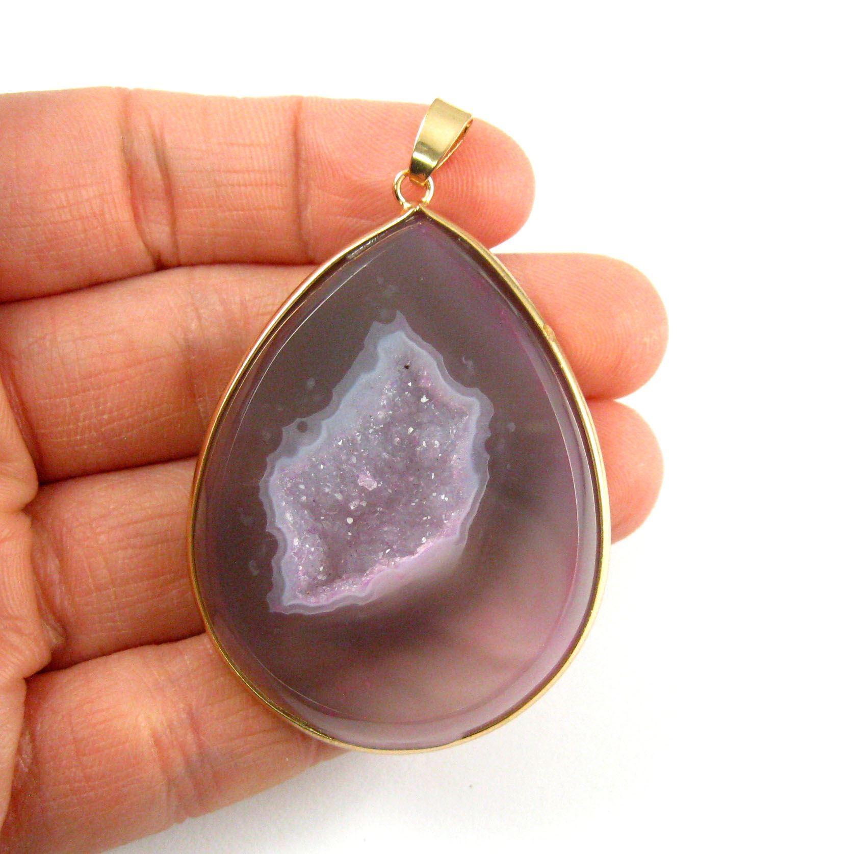 Druzy Agate Geode Pendant,Huge Geode Pendant,Natural Rainbow Agate-  Large Organic Teardrop Pendant Gold Edging and Bail - Green