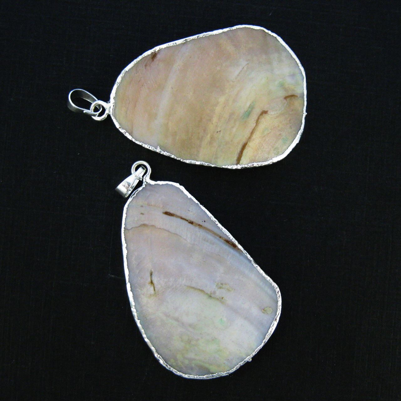 Natural Mother of Pearl Pendant, Genuine Mother of Pearl Silver plated Brass Edging Unique- One of a Kind Pendant-Organic Oval