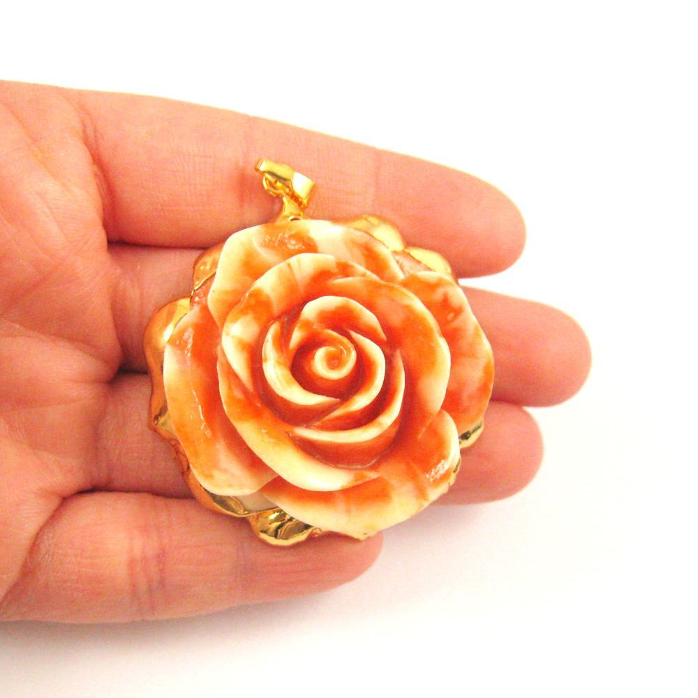 Large Rose Pendant, Natural Carved Resin with 24K Gold Plated Brass, Gold Dipped Rose- Orange and White Rose