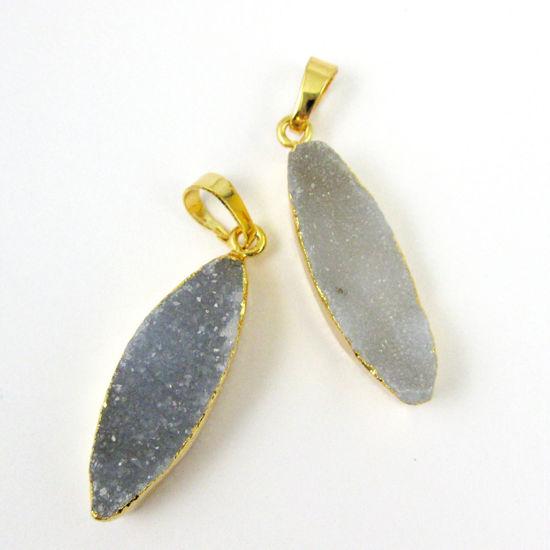 Druzy Agate Geode Marquis Bar Pendant, Gold Dipped Edging, Geode Bar Pendant, Druzzy Leaf Agate- Almond Shape - Grey Druzy