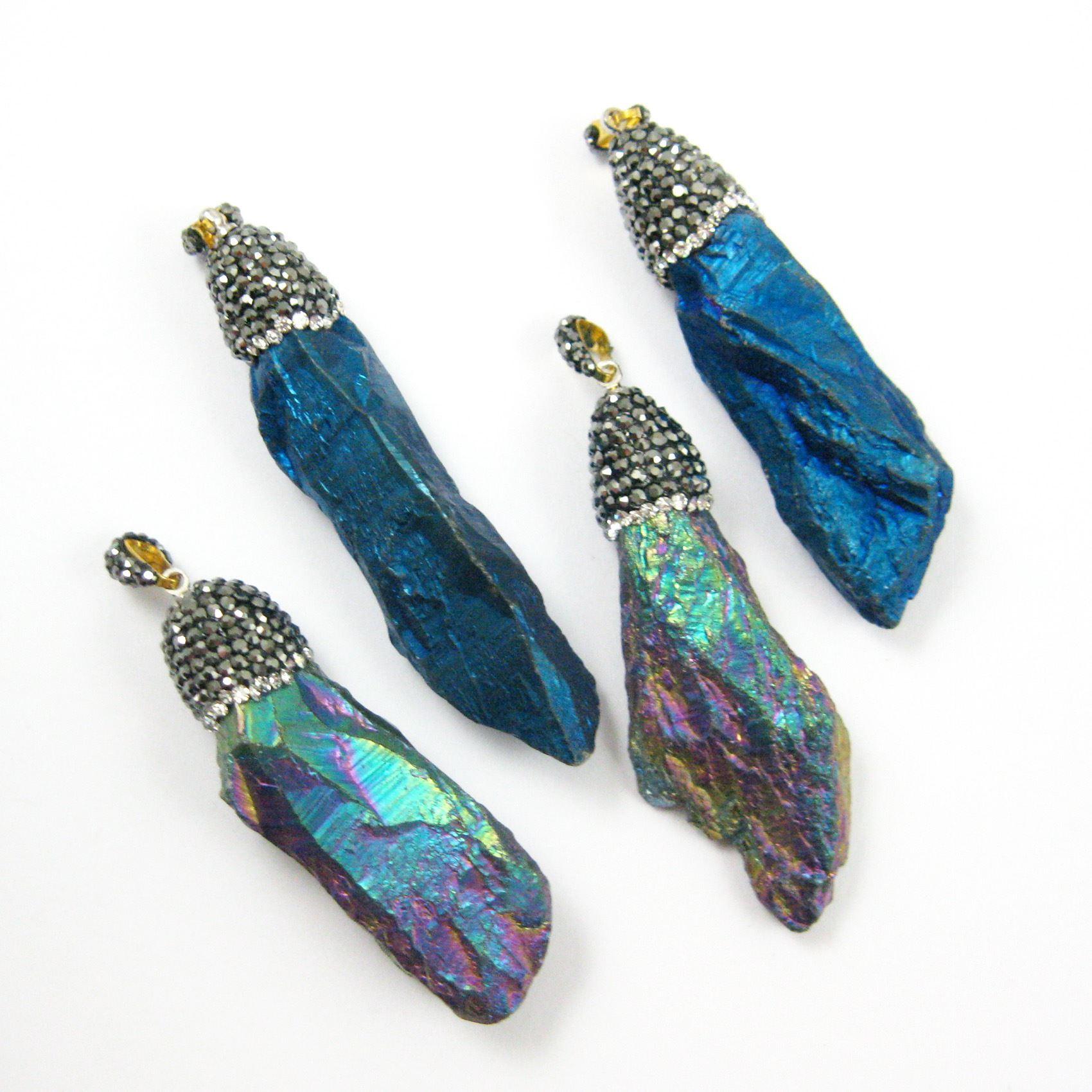 Druzy Natural Titanium Quartz Pendant, Large Titanium Pendant, Zircon Pave Long Organic Pendulum Pendant-Blue