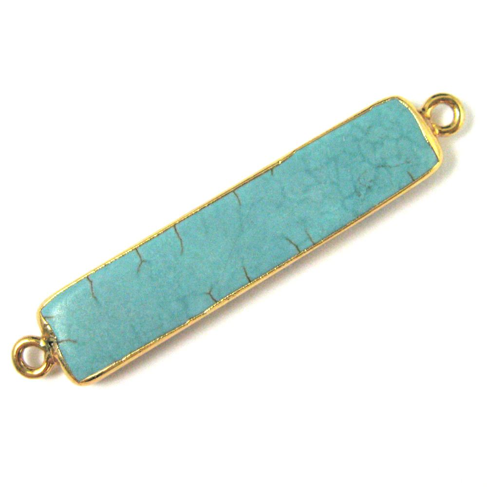 Turquoise Bar Connector, Long Bar Pendant, Turquoise Nature Stone Gold plated, Gold Dipped, Side Ring Turquoise Connector Rings