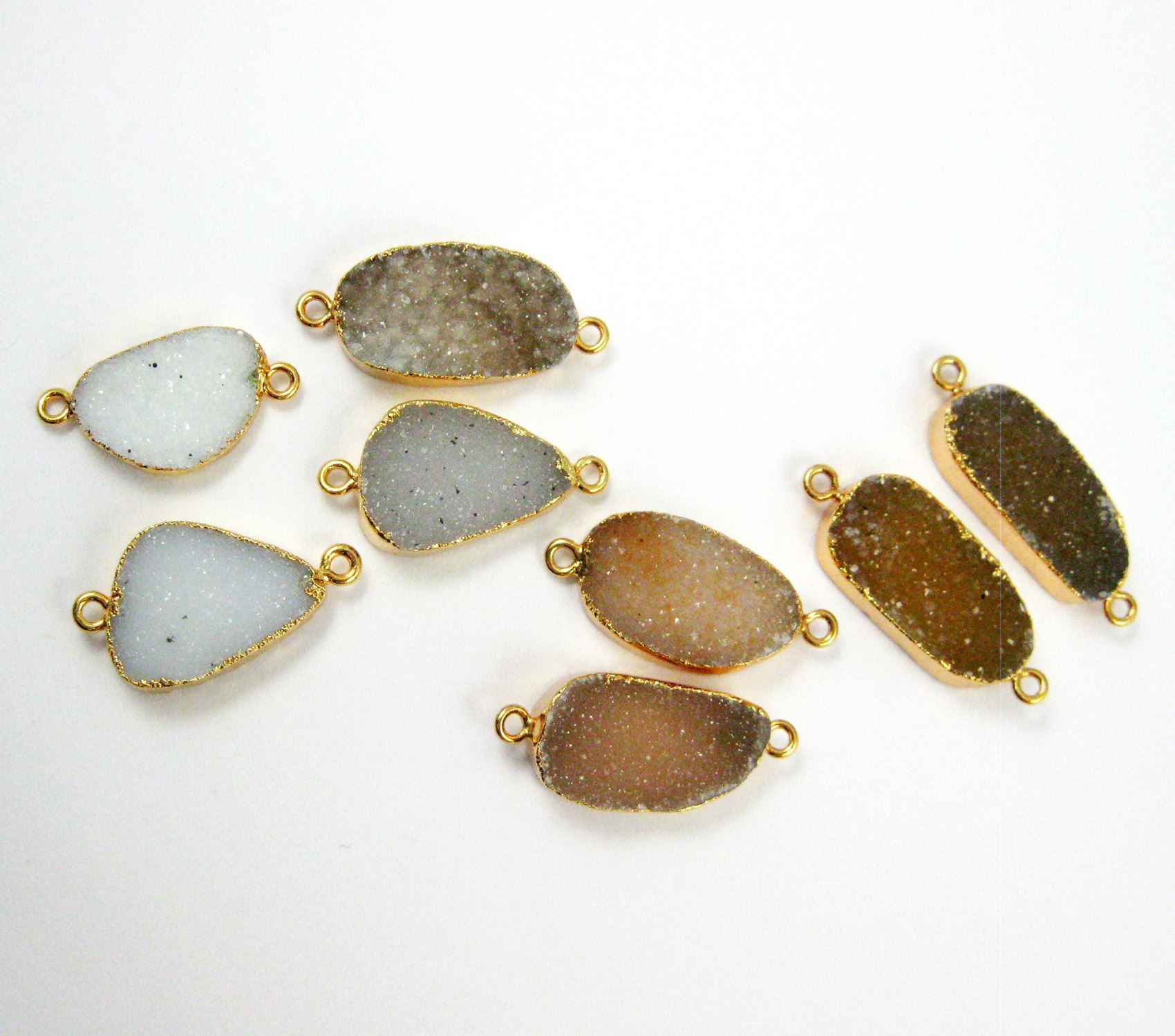 Druzy Agate Pendant, Gold plated Connector, Brown and Grey Druzy Connector Orgnaic Oval Shape- Ginger