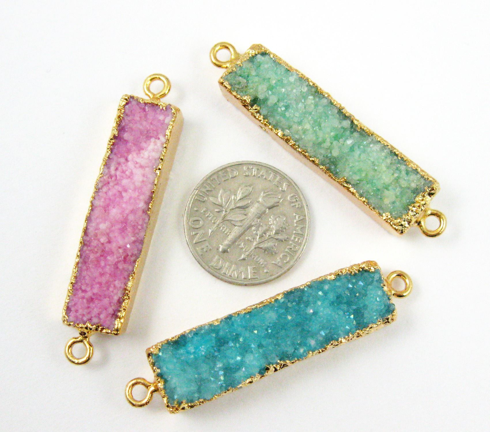 Druzy Gemstone Bar Pendant, Natural Agate Gold Dipped Connector Pendant, Side Rings - Pink - 35mm