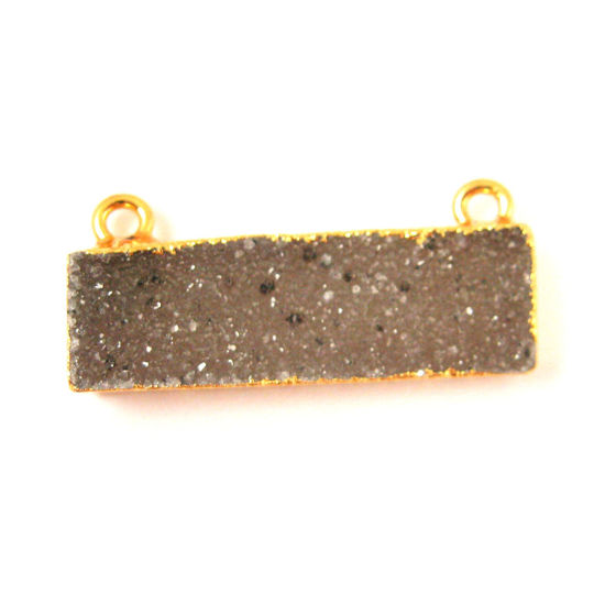 Natural Druzy Gemstone Bar Pendant, Speckled Druzy Agate Pendant Gold plated Edging Top Connector - Dark Grey - 30mm
