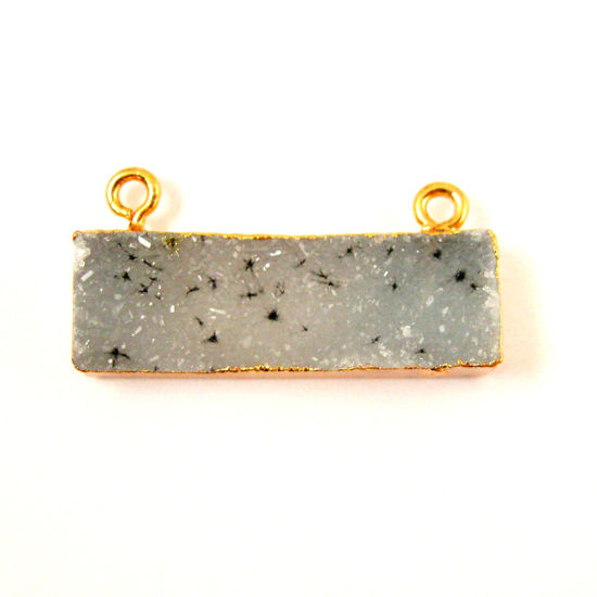 Natural Druzy Gemstone Bar Pendant, Speckled Druzy Agate Pendant Gold plated Edging Top Connector - Grey - 30mm