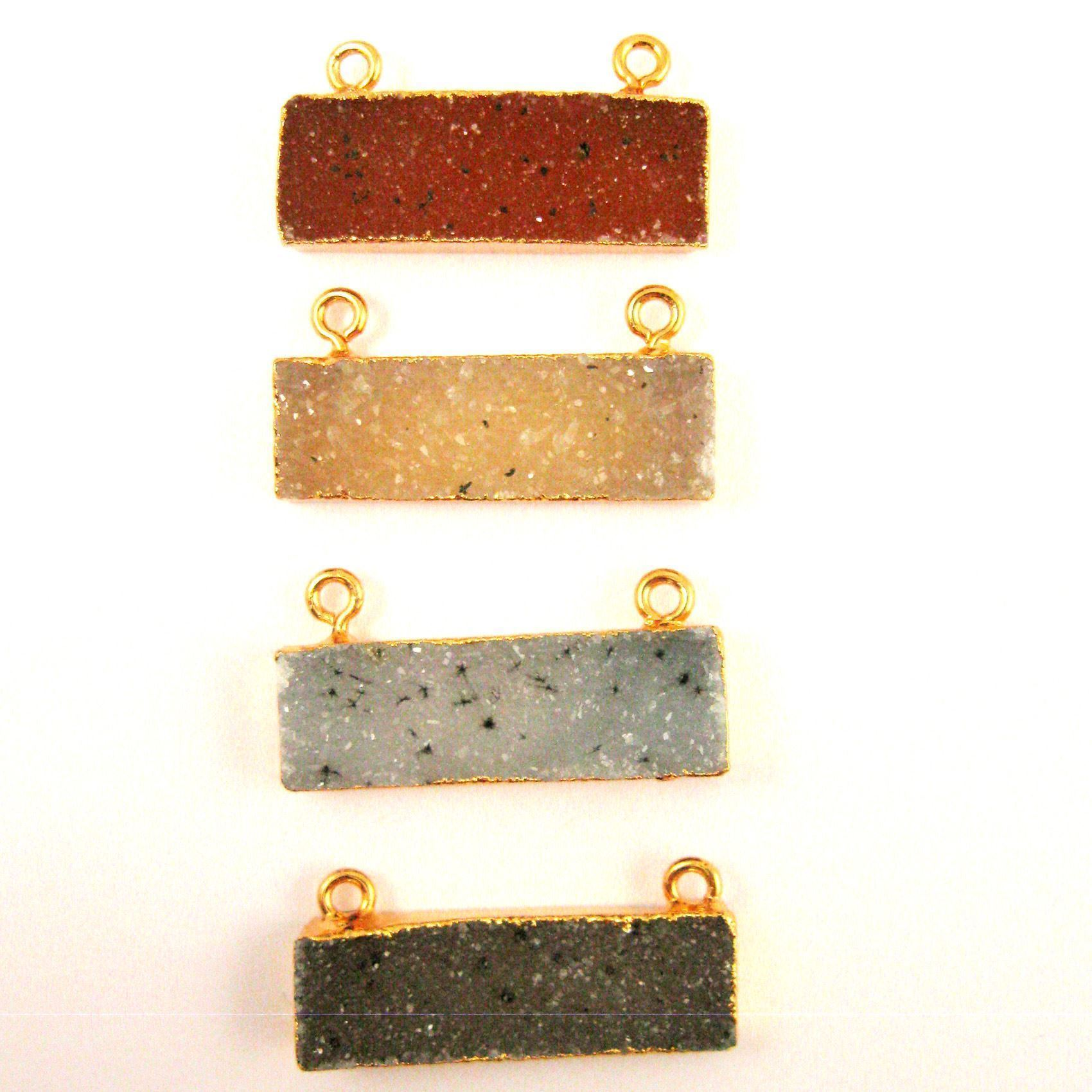 Natural Druzy Gemstone Bar Pendant, Speckled Druzy Agate Pendant Gold plated Edging Top Connector -Cream - 30mm