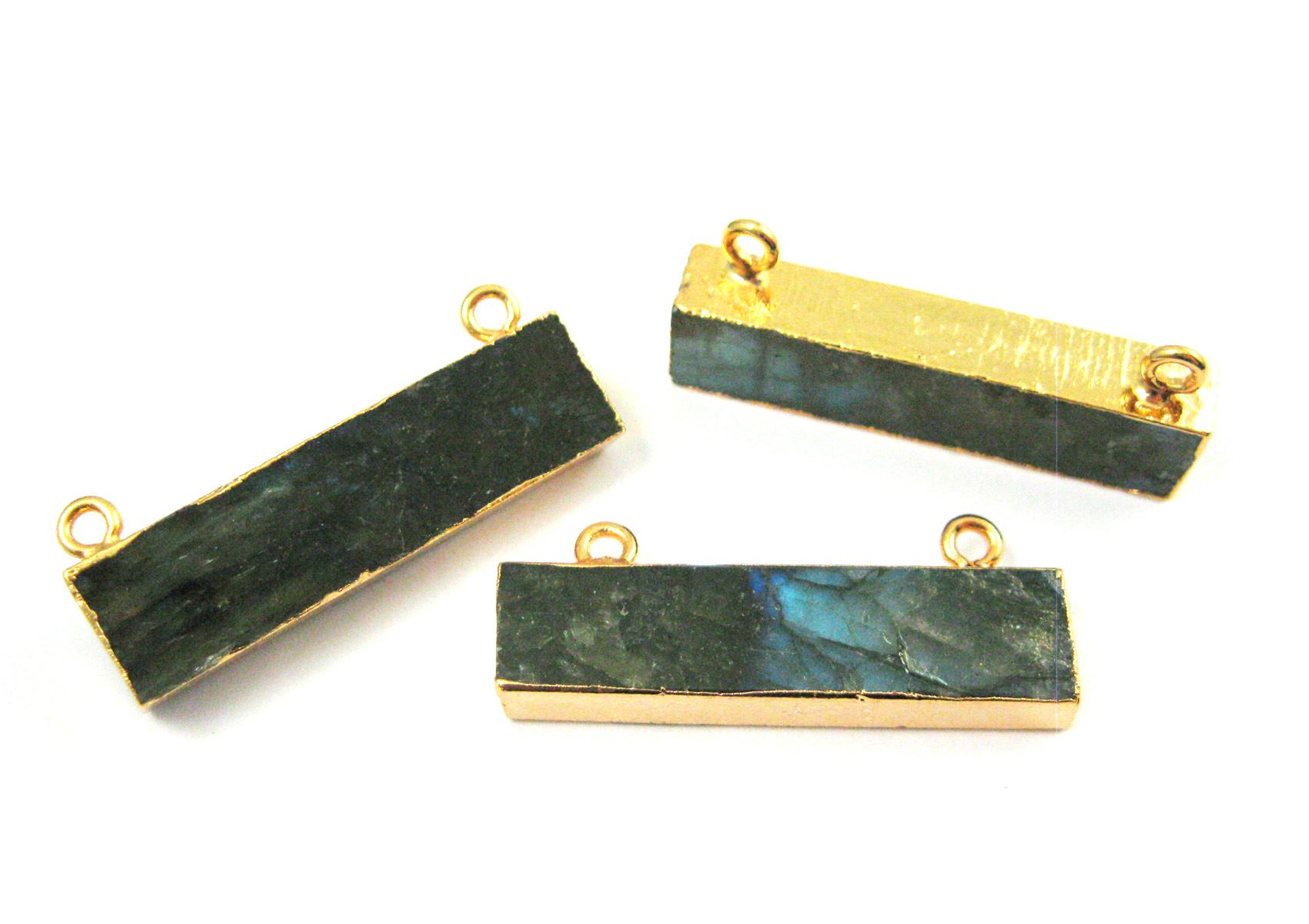 Labradorite Bar Connector, Gold plated Edging Long Bar Pendant, Top Ring Connector - 35mm