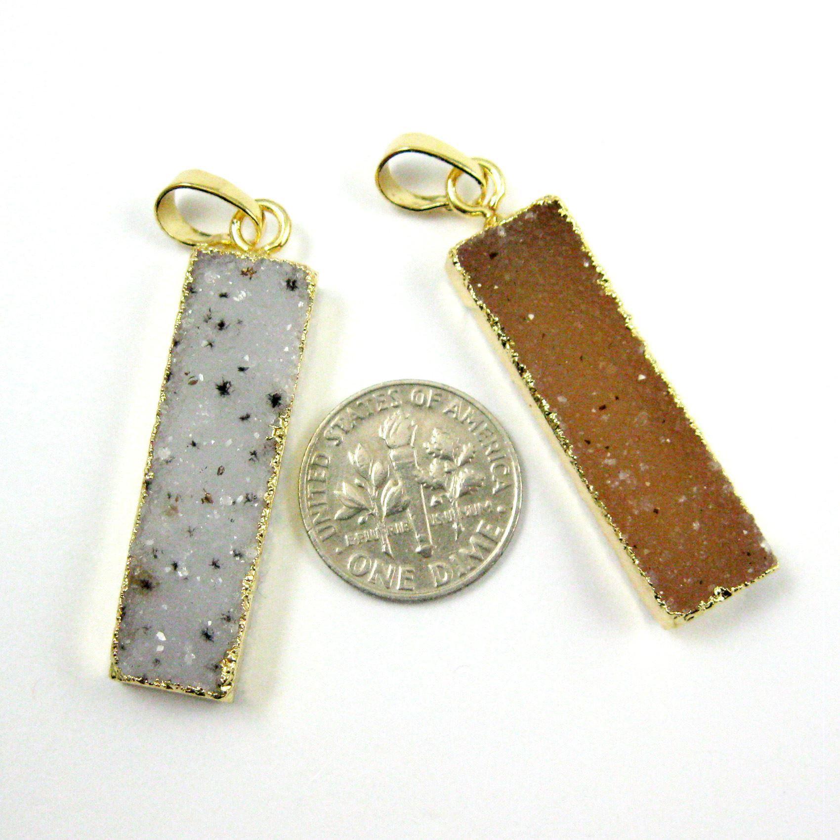 Natural Druzy Grey Speckled Agate Bar Pendant, 24K Gold plated Long Vertical Bar,Druzy Bar Necklace Rectangle Pendant