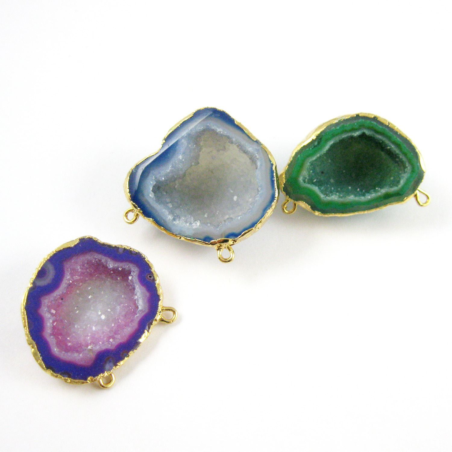 Druzy Agate Geode Connector Pendant,  Purple Nature Agate Gold Edging Small Geode Pendant