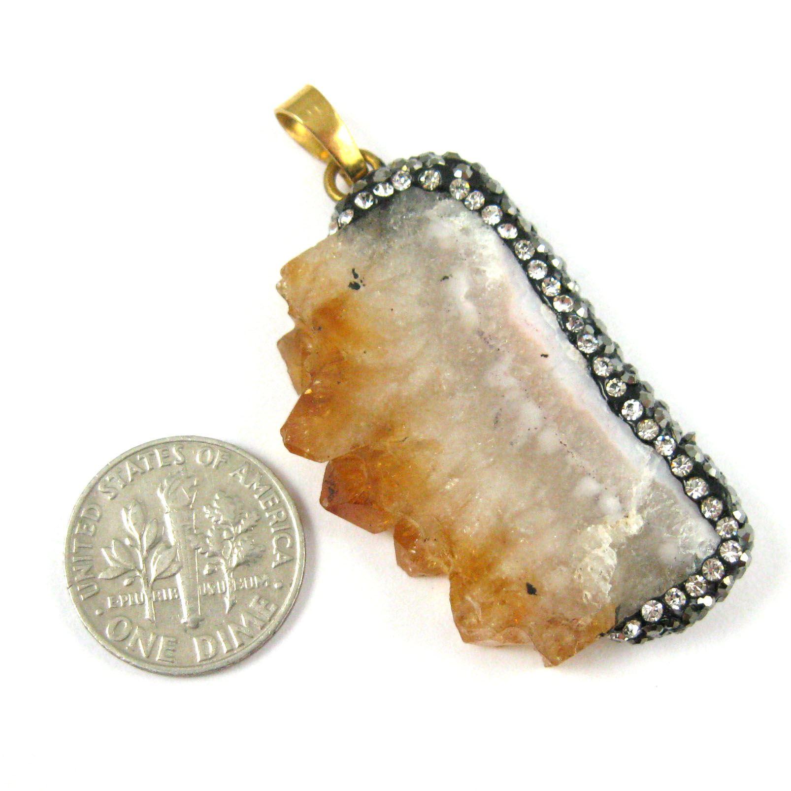 Druzy Pave Citrine Necklace Pendant, Natural Amethyst Rectangle Zircon Pave