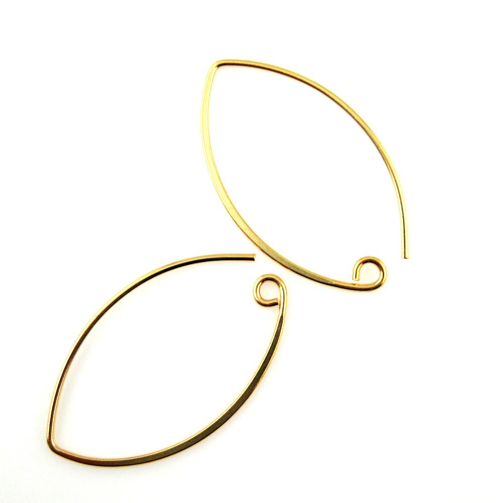 22K Gold plated over 925 Sterling Silver 36mm Marquise Earwire (Sold per pair)