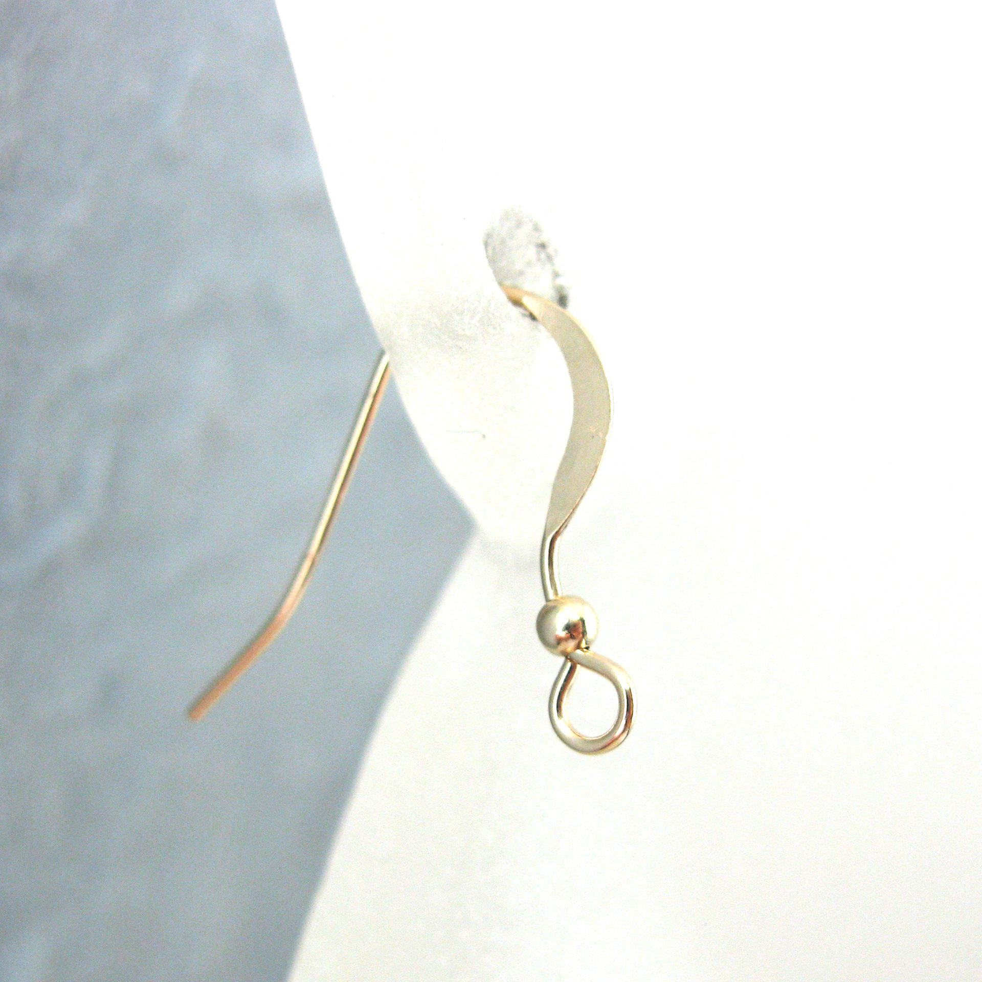 14K Gold Filled Earwires -Flat Fishhook with Ball (3 pairs, 6 pieces)
