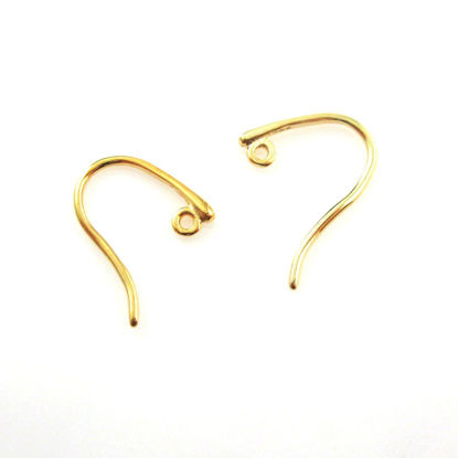 22k Gold plated over Sterling Silver - Hooks, Earwire- Sleek and Sexy Style -18 by 15mm ( 6 pcs - 3 pairs)