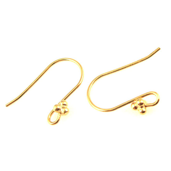 22K Gold plated over Sterling Silver Fancy Fishhook Ball End Earwire with 4 Balls, Earring Findings (4 pcs - 2 pair)