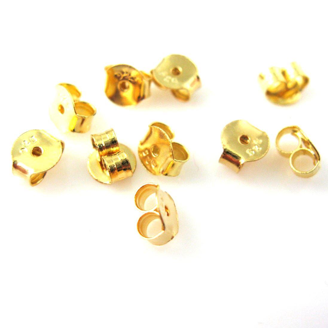 22K Gold Plated over Sterling Silver Butterfly Earring Post Backs Earnuts (5 pairs - 10 pcs)