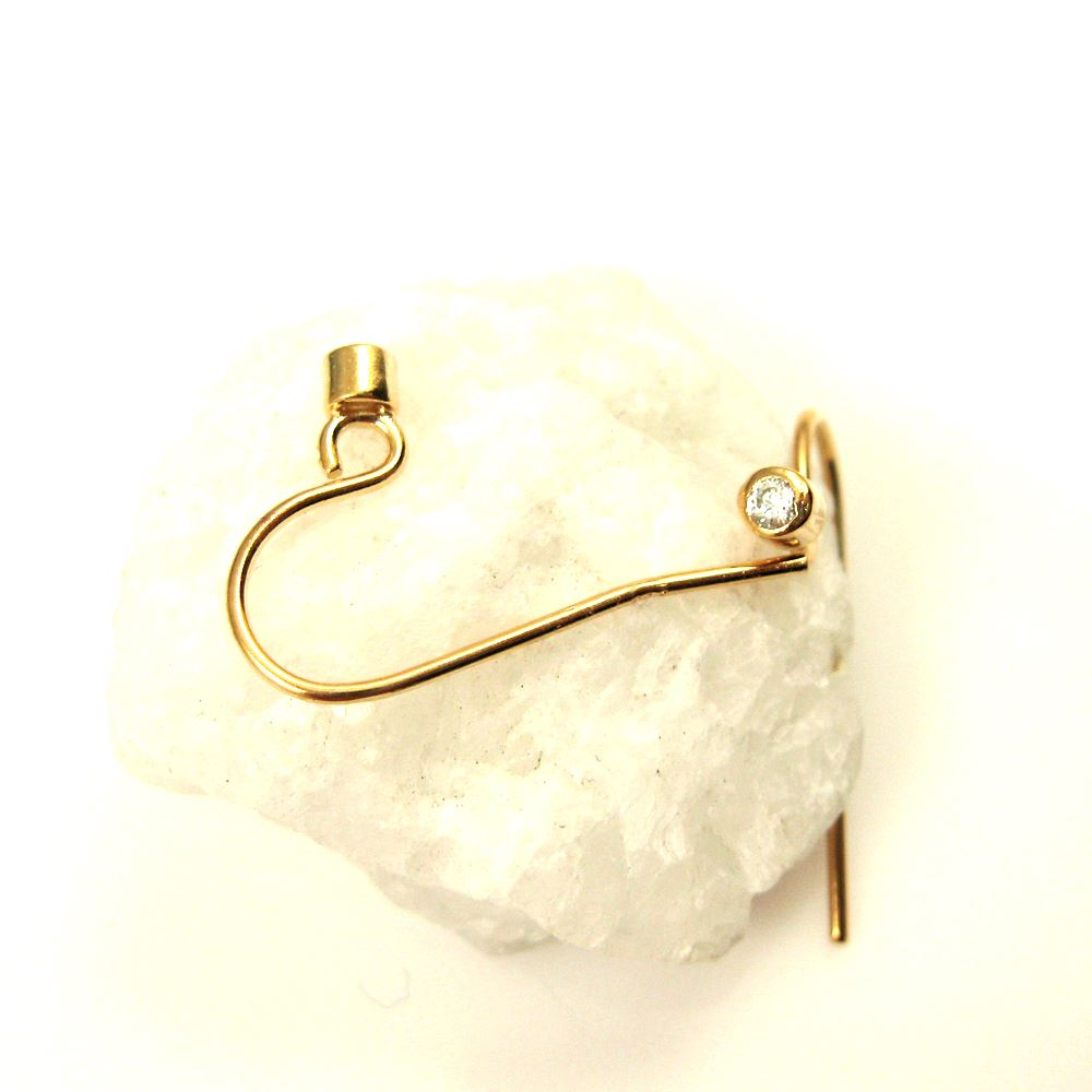 Gold plated Earwire and CZ Stone, Simple Fish Hook with CZ Cup ( 4 pcs, 2 pairs)
