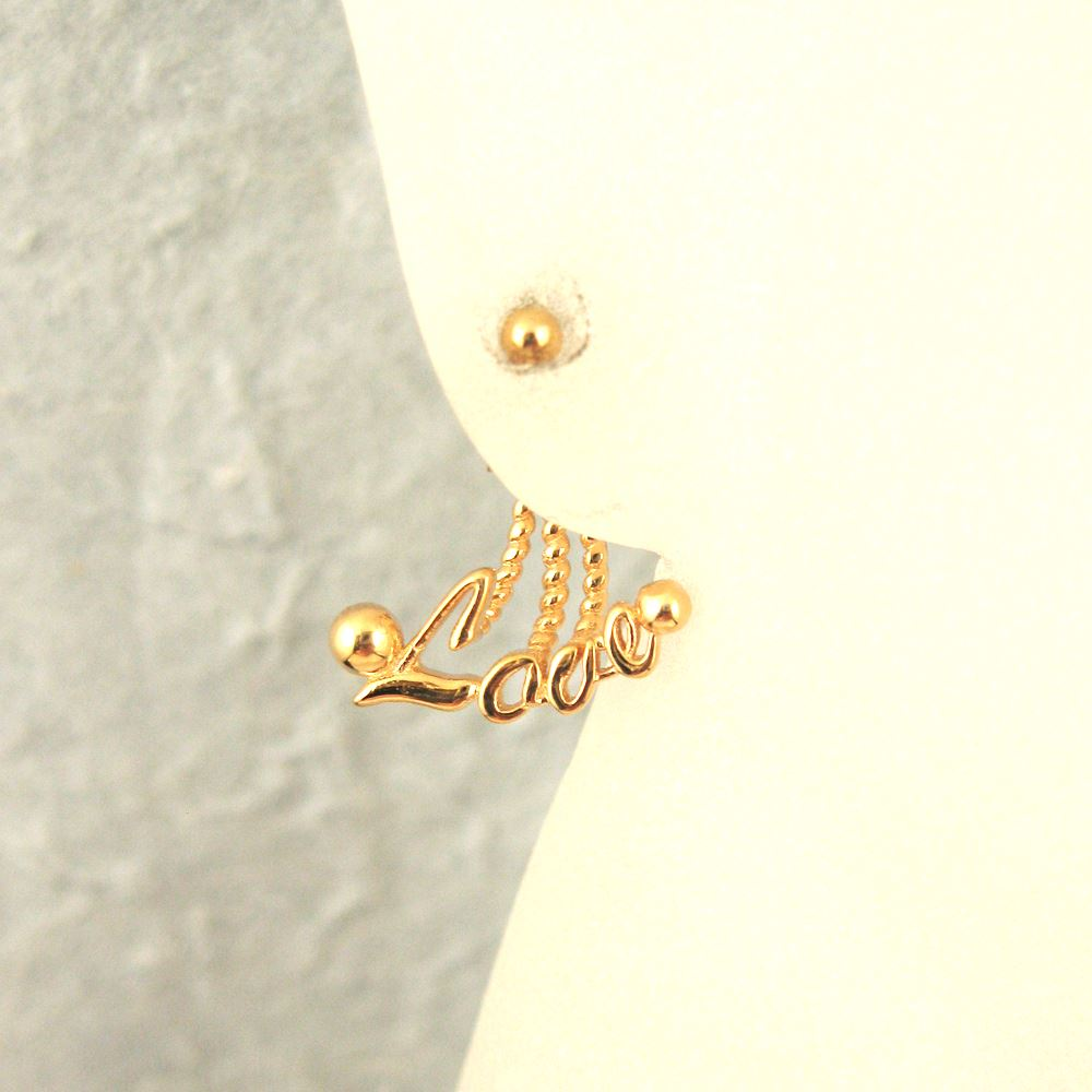 22K Gold plated Sterling Silver Earwire with LOVE Dangle Attachment ( One pair )