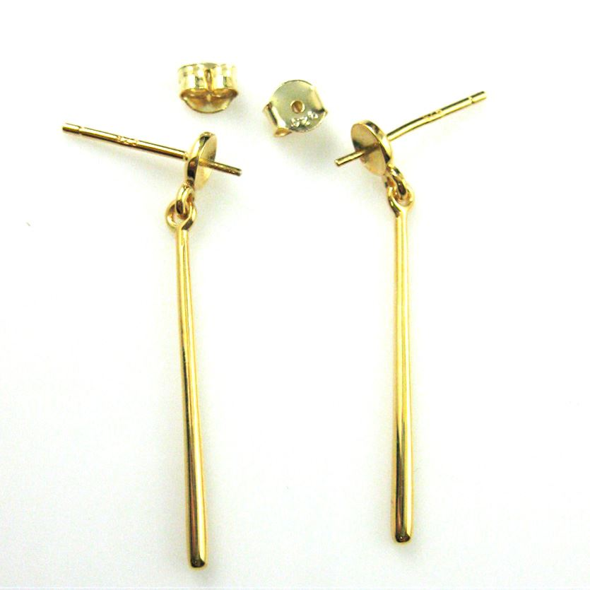 18k Gold plated over 925 Sterling Silver Dangling Bar with Cup for Half Drilled Beads and Pearls - 35mm (2 pcs -1 pair)