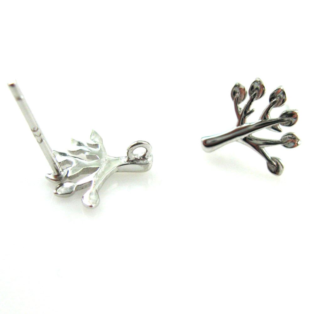 Tree Earrings - Rhodium Plated over sterling Silver Earwire -Tree Earwires (1 pair)
