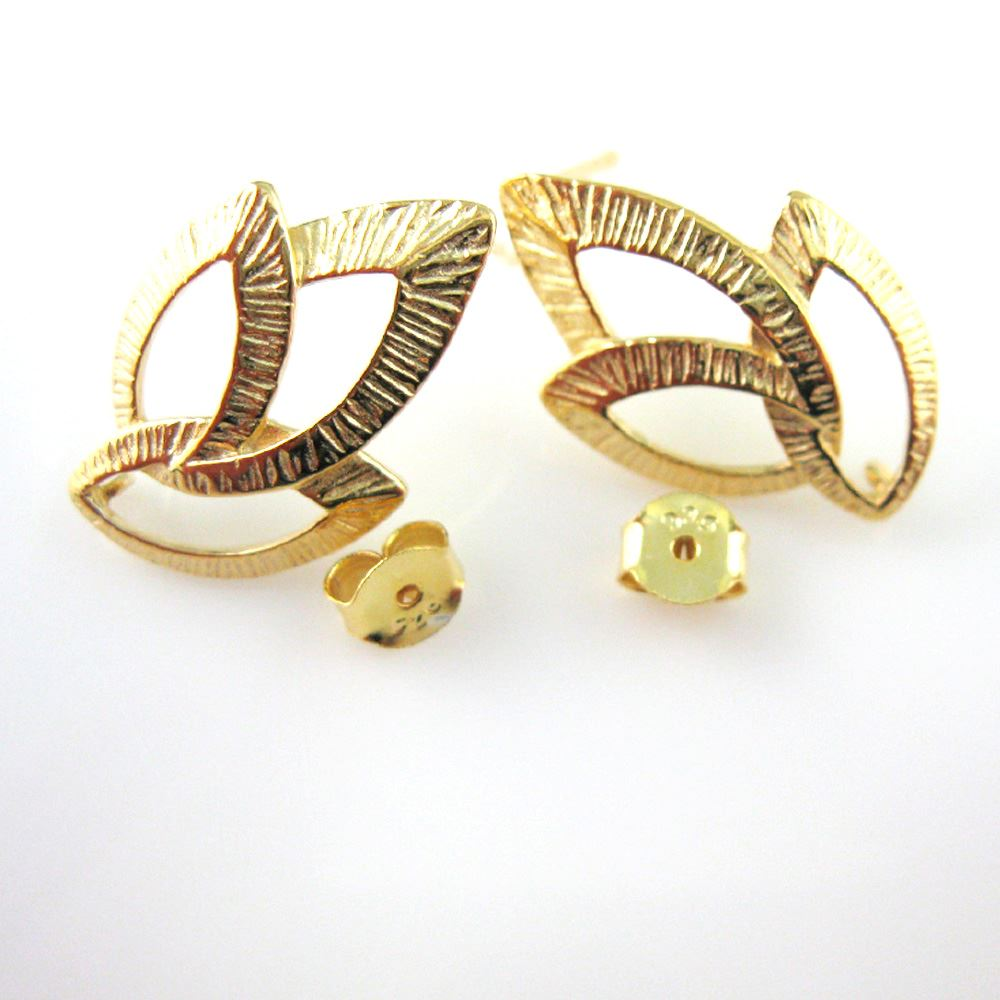 18k Gold plated over Sterling Silver Texture Leaf Earwire - Fancy Earwire - 21mm by 13mm (2pcs - 1 pair)