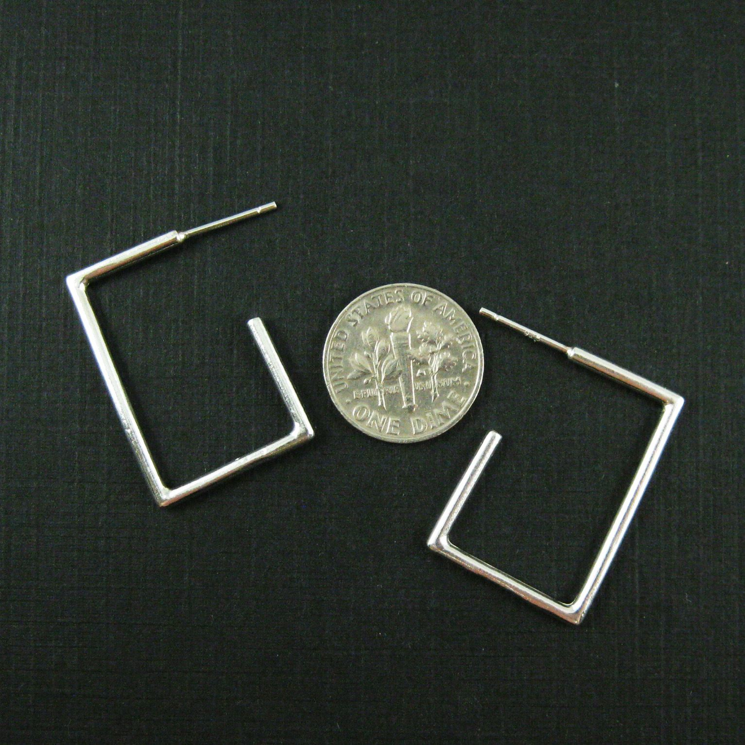 Sterling Silver Earrings Hoops-Large Square Hoops 28mm ( 2 Pcs - 1 Pair )