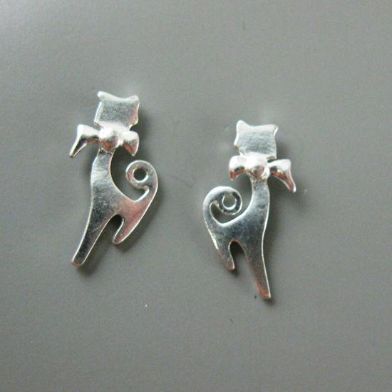 Sterling Silver Earrings, Silver Kitty Cat Earring Findings, Silver Cat Stud Earrings - 15mm (2 pcs, 1 pair)