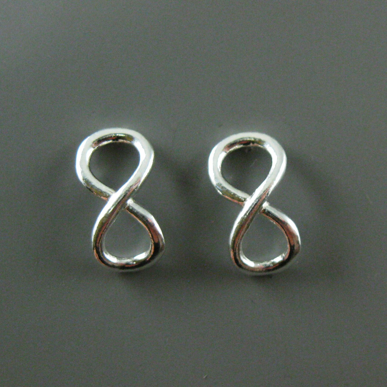 Silver Infinity Earrings, Sterling Silver Earrings, Infinity Fish Hook Earwire - 13mm (2 pcs, 1 pair)