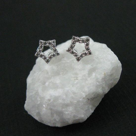 Sterling Silver Earrings,CZ Cubic Zirconia Star Earring Studs,CZ Star Earrings, Silver Earwire- 6mm (2 pcs, 1 pair)