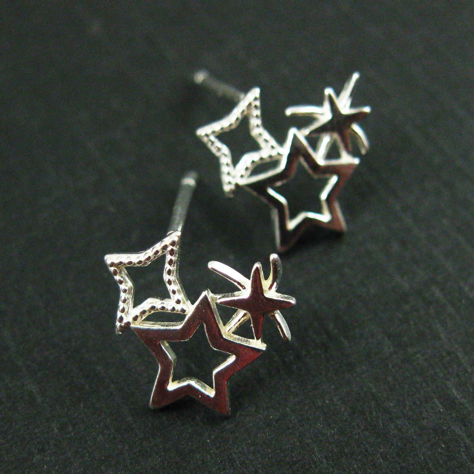 Sterling Silver Earrings,Star Earring Studs, Firework Earrings- Firecracker Earring Studs-10mm (2 pcs, 1 pair)