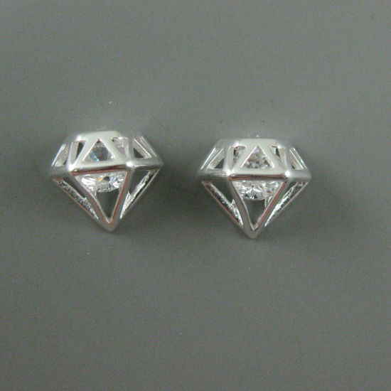 Sterling Silver Earrings,Diamond Shape Earring Stud, Loose CZ Cubic Zirconia Stone, Diamond Cage Earring Studs-10mm (2 pcs, 1 pair)