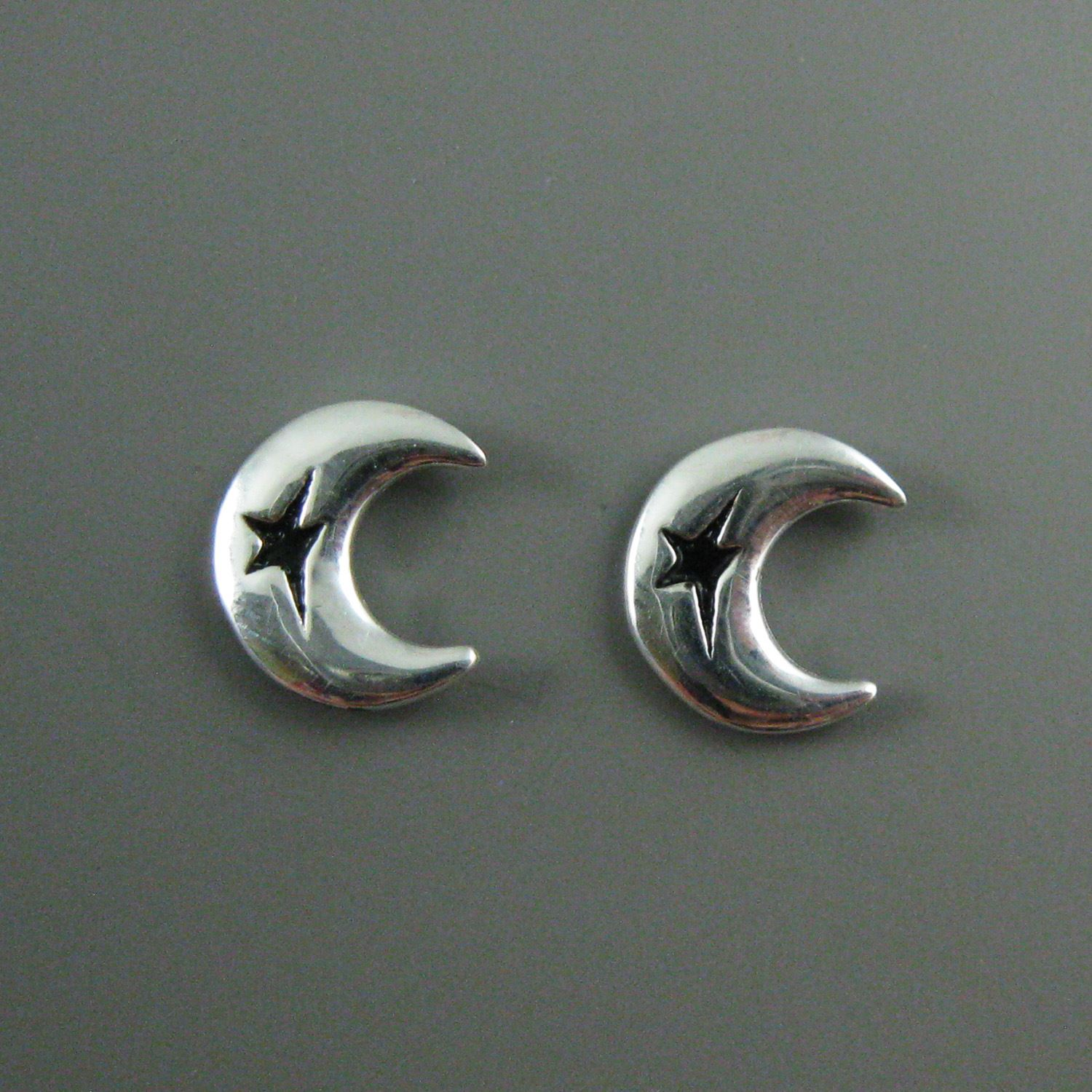 Sterling Silver Earrings, Crescent Moon Star Earrings, Silver Moon Earrings, Silver Arch Earwire, Earring Findings-11mm  (2 pcs, 1 pair)