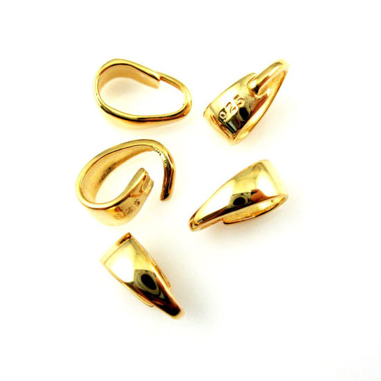 Bail, 22K gold plated over 925 Sterling Silver Bail, Jewelry and Beading Supplies - Simple Smooth Classic Bail Connector-Jewelry Findings- 8.5mm - 5 pieces