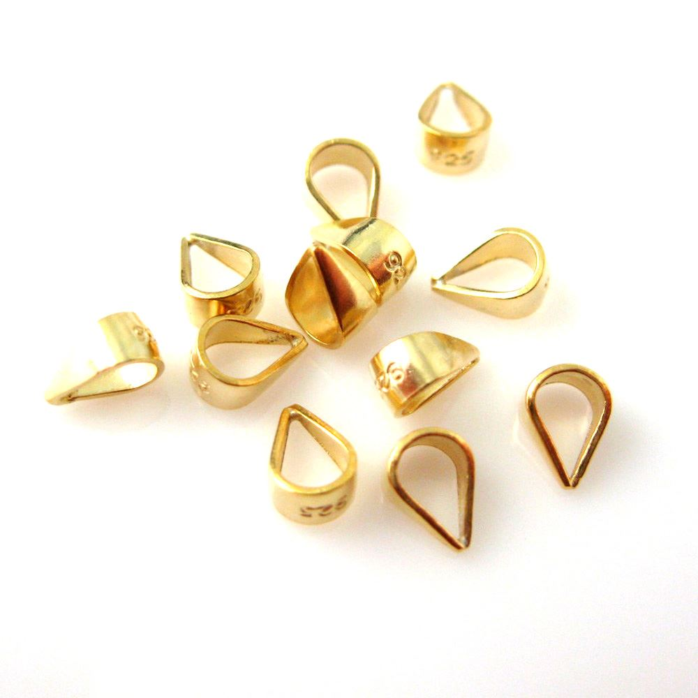 22k Gold plated over 925 Sterling Silver Simple Bail, Closed Bail (5.5mm) - sold per 10 pcs