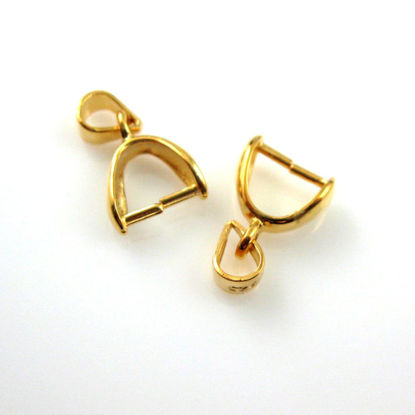 22k Gold plated over 925 Sterling Silver Smooth Teardrop Pinch Bail Connector - 2 pcs