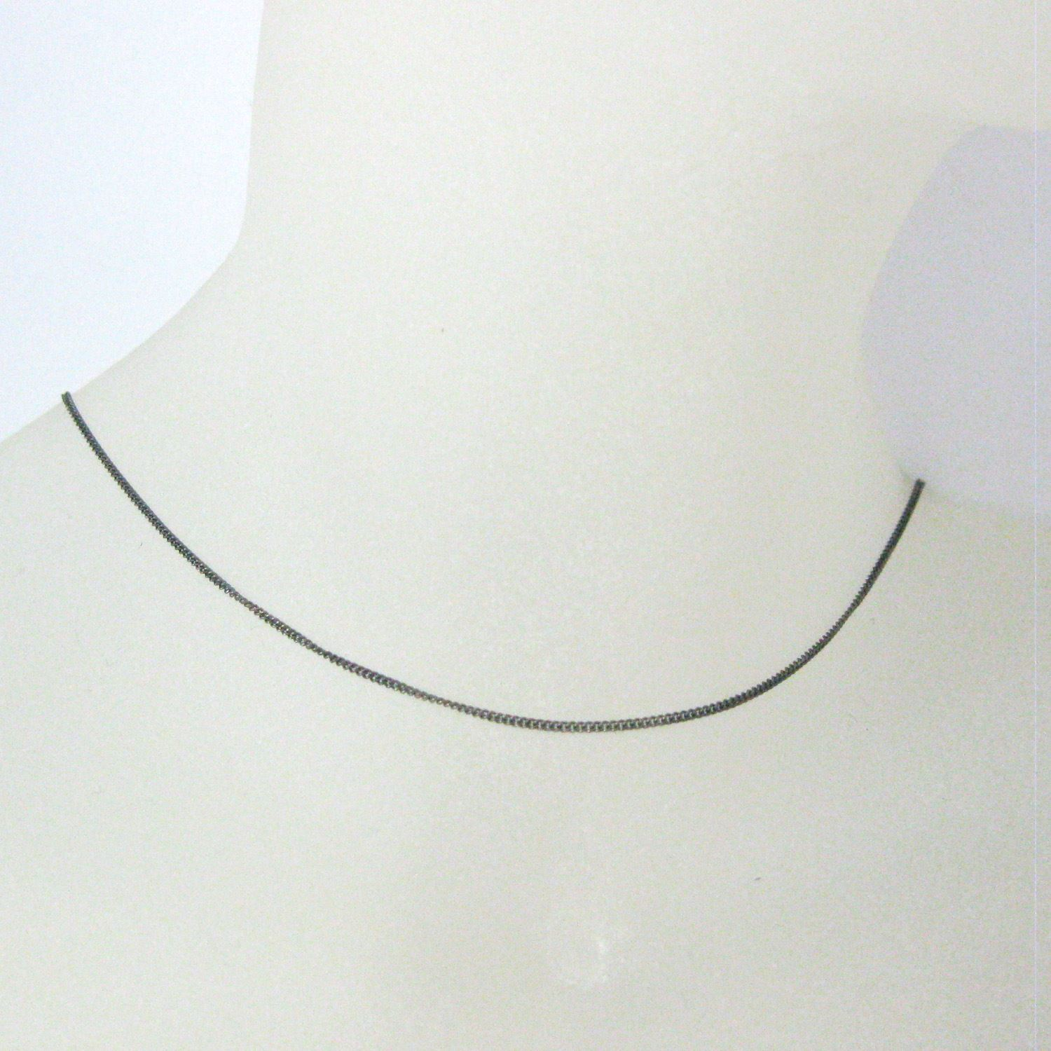 Oxidized Sterling Silver Necklace Chain- Tiny Curb Chain- Long Necklace - All Sizes